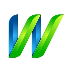 W letter leaves eco logo volume icon vector image