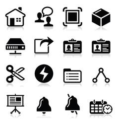 Web internet black icons set vector image vector image