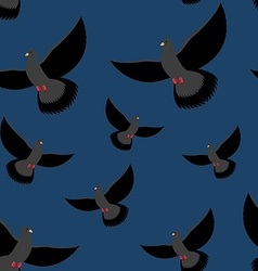 Black Dove seamless pattern Gray pigeons fly at vector image