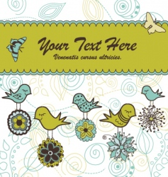 floral card with birds vector image vector image