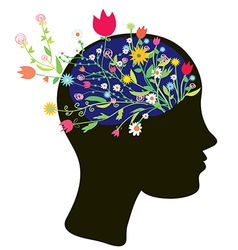 Girl head silhouette with flowers vector image