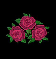 red roses embroidery on black background vector image vector image