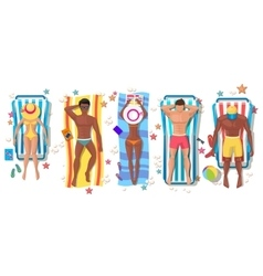 Summer beach people on sun lounger icons vector image vector image