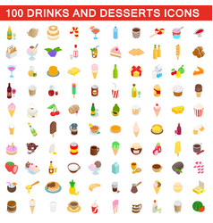 100 drinks and desserts icons set isometric style vector