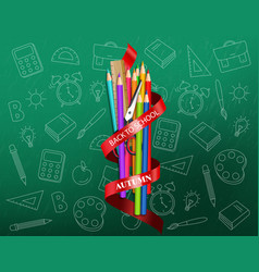 Back to school colorful ucrayons supplies vector
