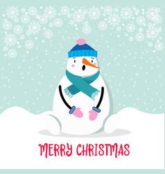 beautiful flat design christmas card snowman vector image