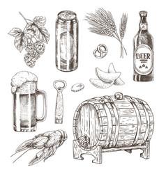Beer ingredients set and snack vector