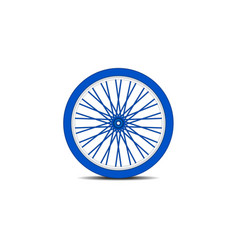 Bicycle wheel in blue design with shadow vector