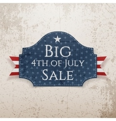Big 4th of July Sale Emblem with Ribbon vector image