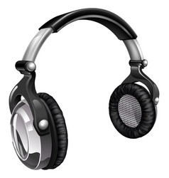 big cool music headphones vector image