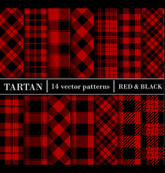 Black and red set tartan plaid seamless patterns vector
