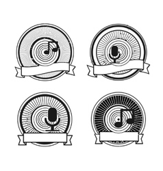 Black and white record microphone stamp vector