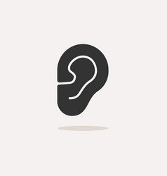 body senses heard ear icon with shadow on beige vector image