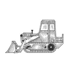 bulldozer machine sketch engraving vector image