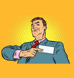 businessman points at a name badge id vector image