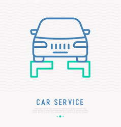 car lifting thin line icon vector image