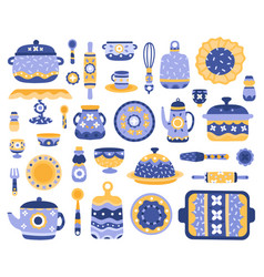 cartoon ceramic crockery kitchen cookware vector image
