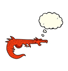 cartoon medieval dragon with thought bubble vector image