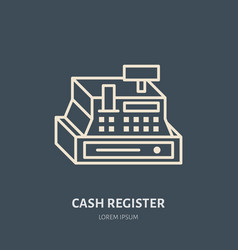 Cash register flat line icons retail store vector