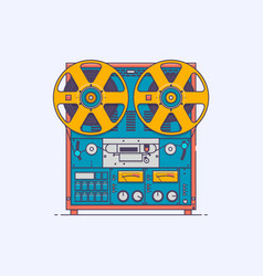 Cassette tape player in line vector