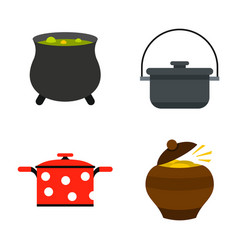 cauldron icon set flat style vector image