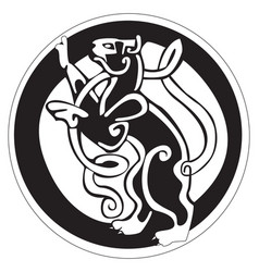 Celtic design of a cat inside a circle vector