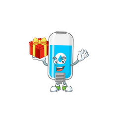 Charming wall hand sanitizer has a red box gift vector