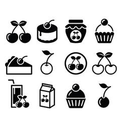 Cherry fruit cake jam icons set vector