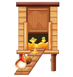Chicken coop with hen and chicks vector
