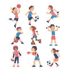 Children playing various sports set boys and vector