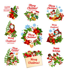 christmas and winter holidays festive badges vector image