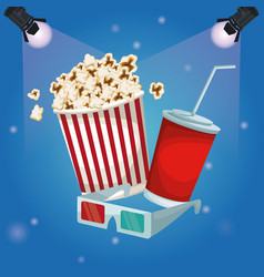 Color background spotlights with popcorn pack and vector