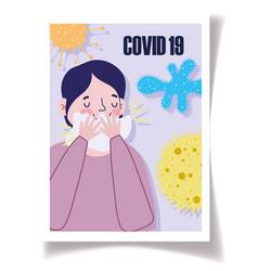 Covid19 19 prevention man symptoms cough cover vector