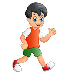 cute boy cartoon giving thumb up vector image