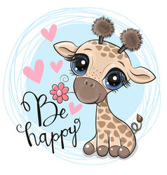 Cute cartoon giraffe with flower on a blue vector