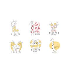 Cute giraffe logo design templates abstract hand vector