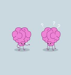 Cute human brains couple pink cartoon characters vector