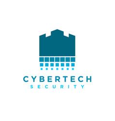 Cyber tech security internet shield logo simple vector
