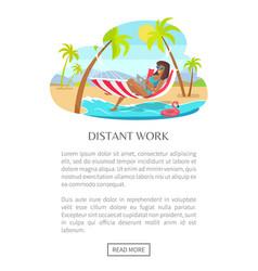Distant work web poster woman lying on hammock vector