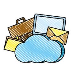 doodle cloud data network connection server vector image