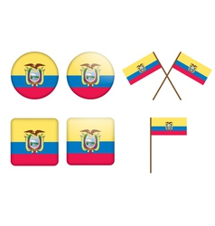 Ecuador Flag Badges vector
