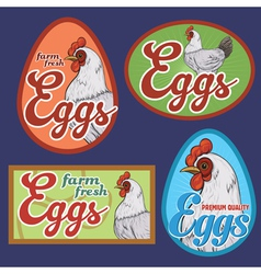 Eggs vintage labels set vector image