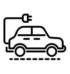 electric car icon outline style vector image