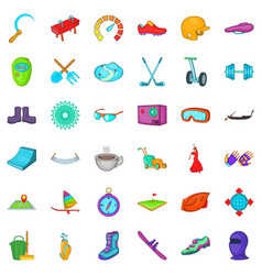 Energy life icons set cartoon style vector