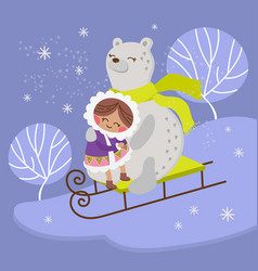 eskimo bear flat design winter girl vector image