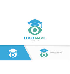 Eye and graduate hat logo unique college logotype vector