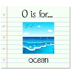Flashcard letter o is for ocean vector