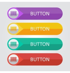 flat buttons with barcode icon vector image