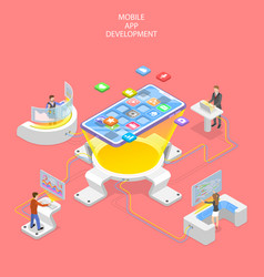Flat isometric concept mobile app vector