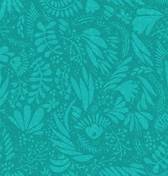 Floral pattern on green seamless background vector